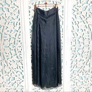 Dana Buchman 100% Silk Black Maxi Skirt